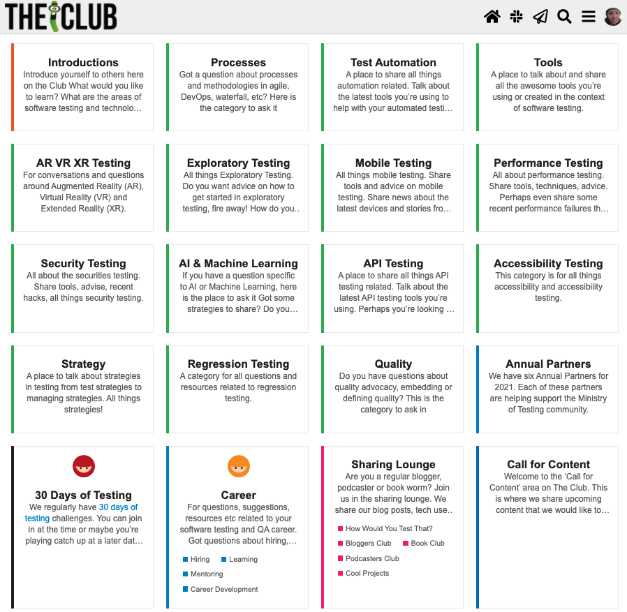 Screenshot of The Club with the 29 categories and 24 subcategories before the redesign.
