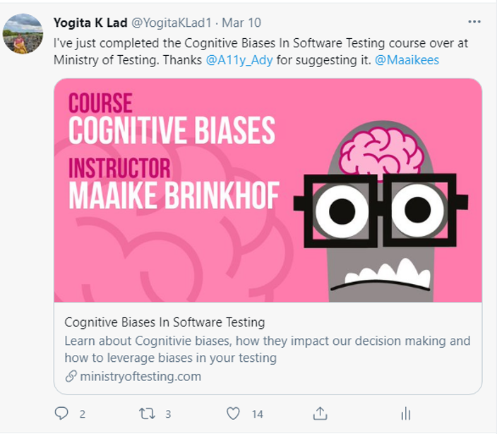 Yogita sharing completing the Cognitive Biases course