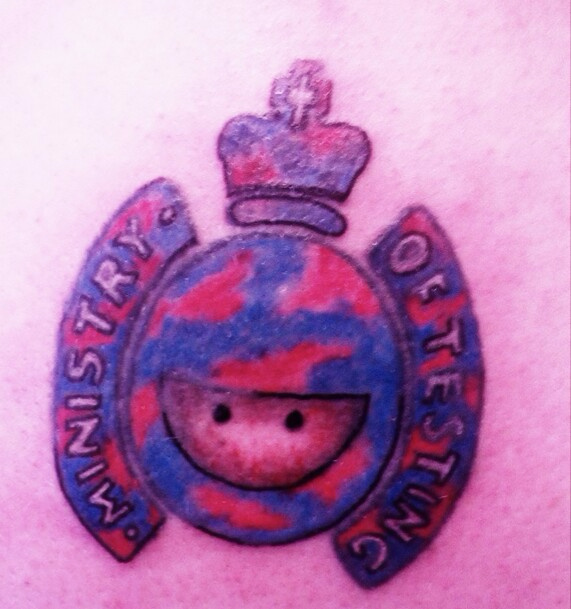 A photo of a Ministry of Testing logo tattoo