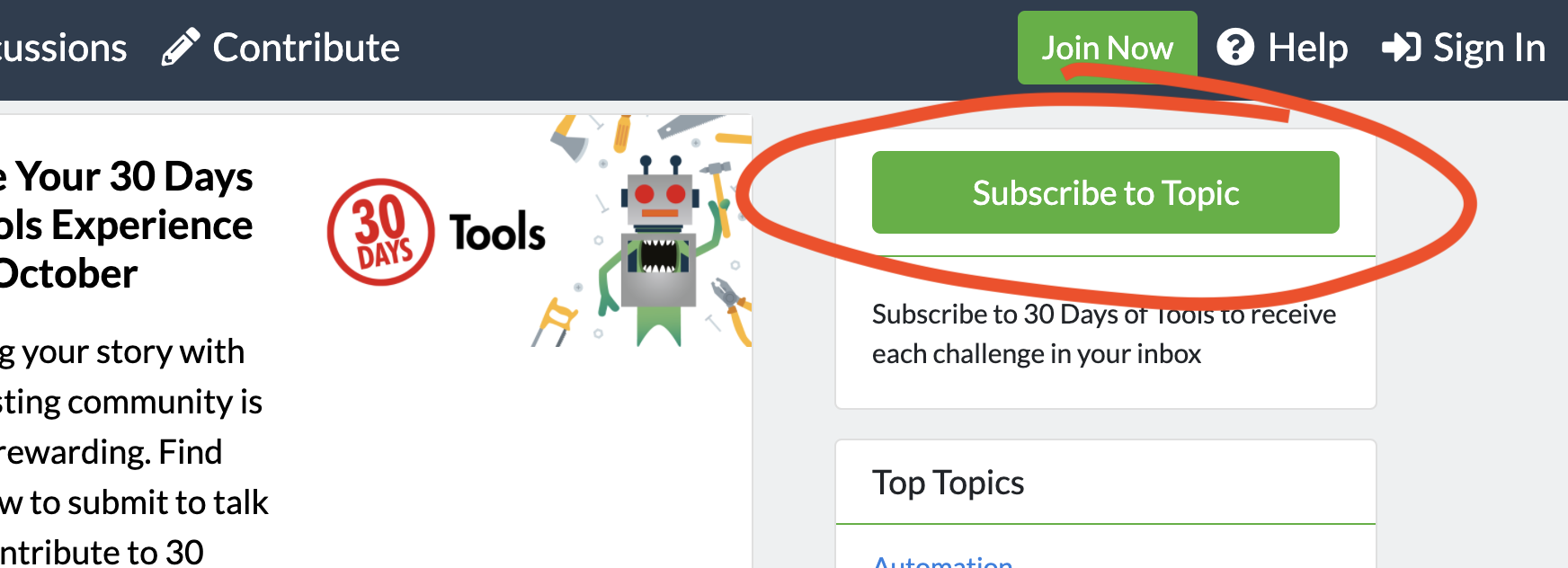 A screenshot of the 30 Days of Tools Topic page highlighting the Subscribe to Topic button.