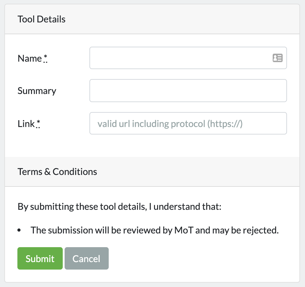 A screenshot of the Ministry of Testing Submit a Tool page