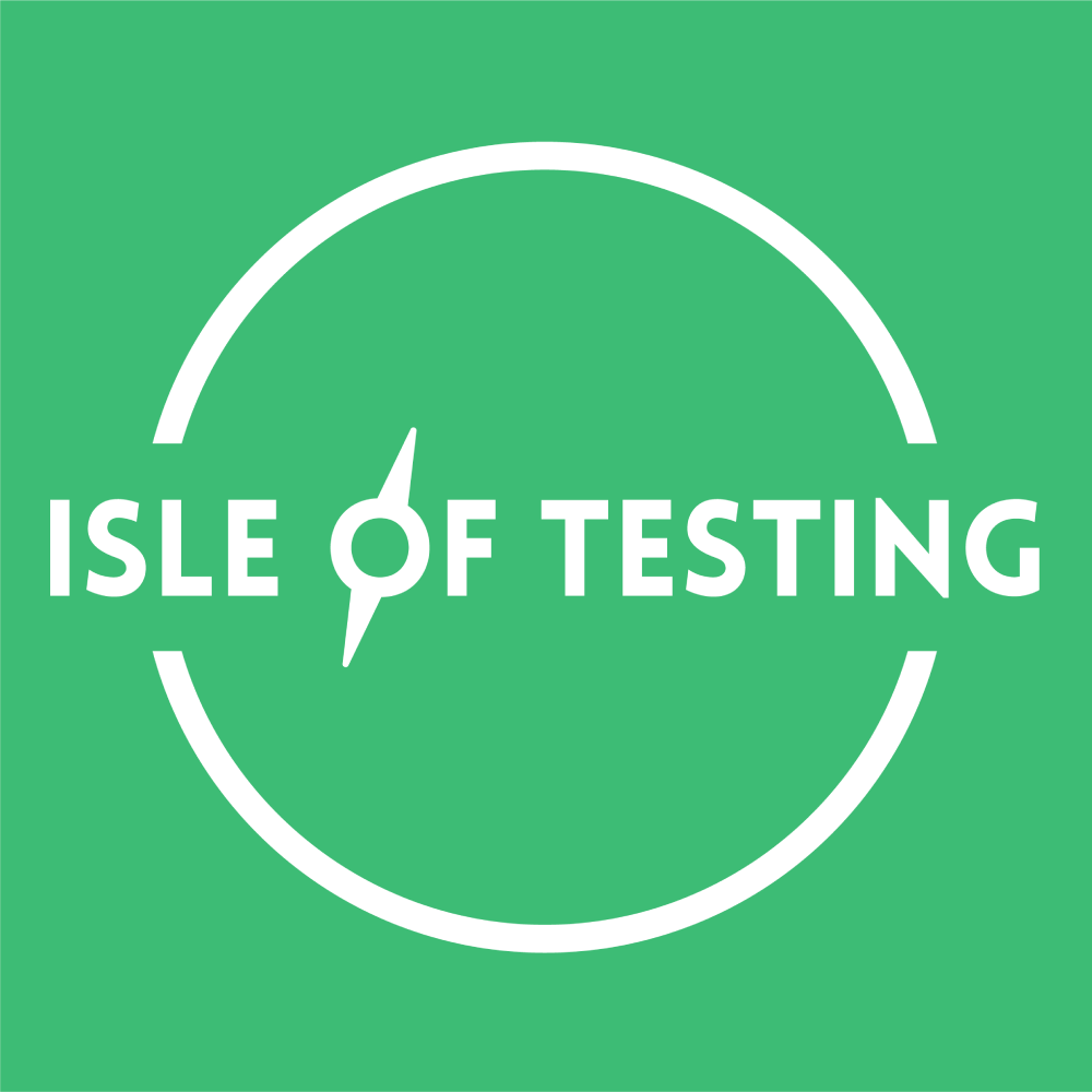 Isle of testing logo square white on green