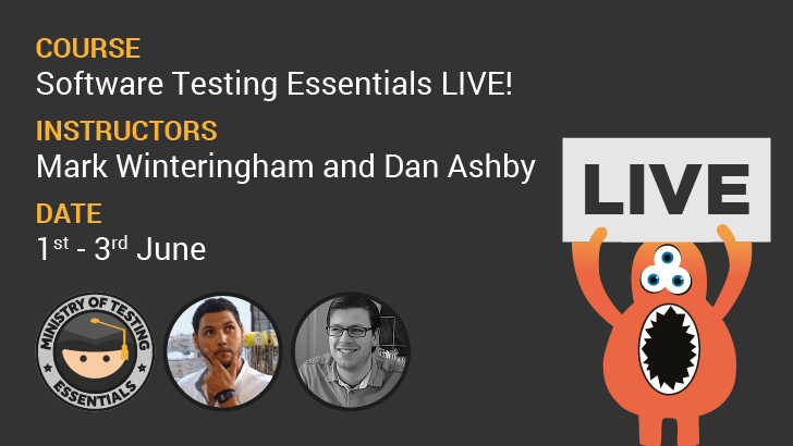 Software Testing Essentials Live! 3-Day Online Course, starts: 2020-06-01