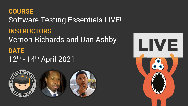 Software Testing Essentials Live!, starts: 2021-04-12