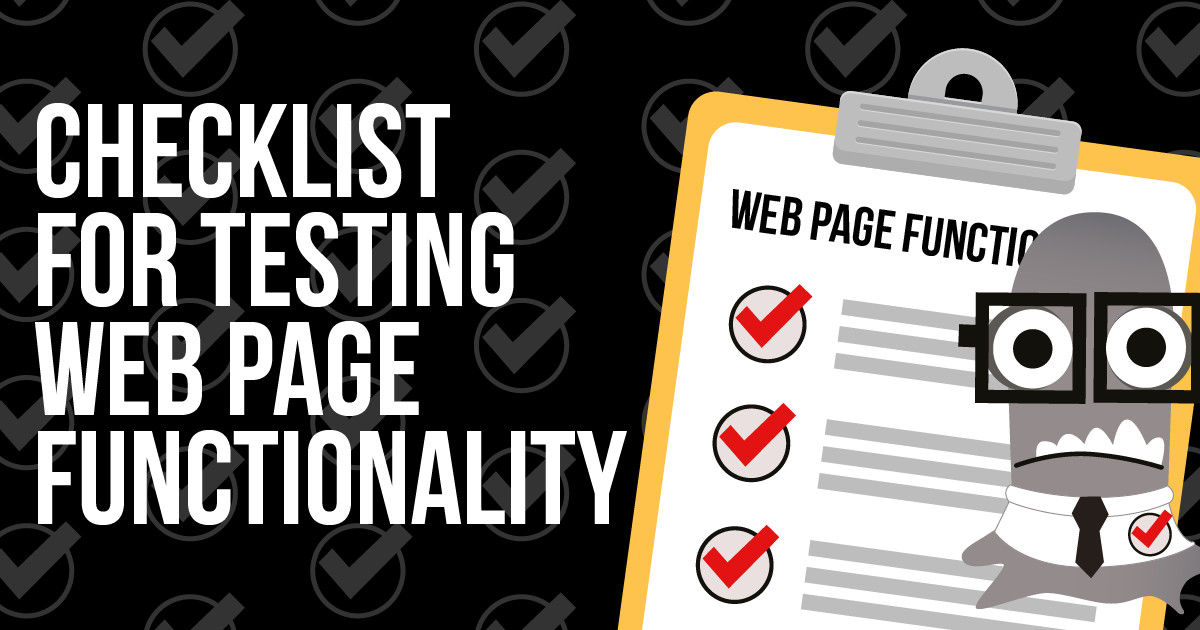 Checklist for Testing Web Page Functionality
